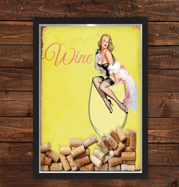 QUADRO CAIXA 33X43  PORTA ROLHA VINHO NERDERIA E LOJARIA pin up wine girl preto