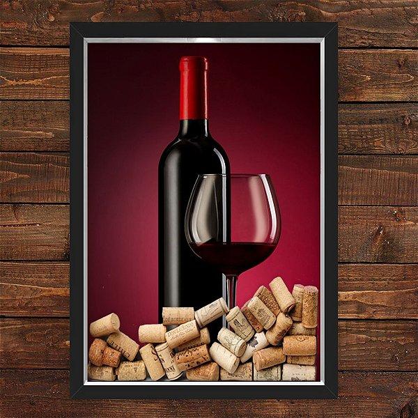 QUADRO CAIXA 33X43 cm  PORTA ROLHA VINHO NERDERIA E LOJARIA vinho preto
