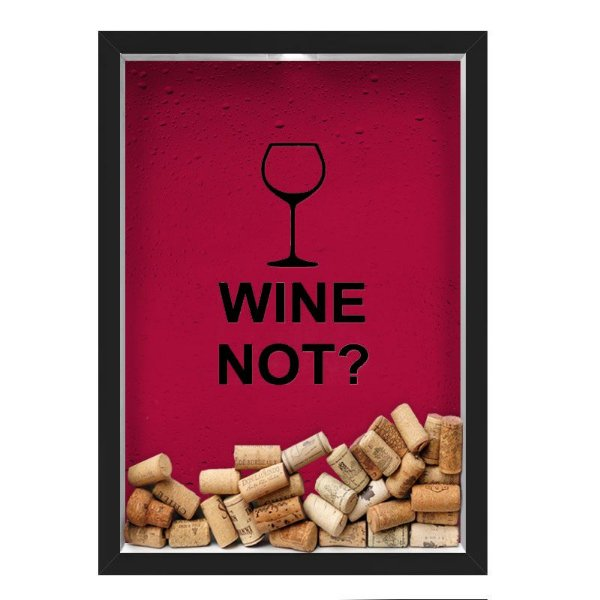 QUADRO CAIXA 33X43 cm  PORTA ROLHA VINHO NERDERIA E LOJARIA vinho wine not preto