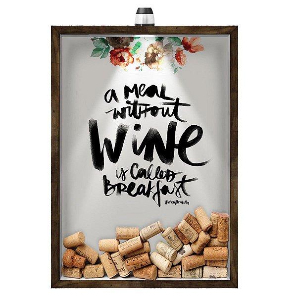 Quadro Caixa 33x43 cm Porta Rolha de Vinho (Com Led) Nerderia e Lojaria led vinho breakfast madeira