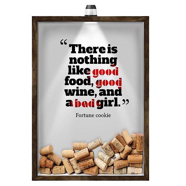 Quadro Caixa 33x43 cm Porta Rolha de Vinho (Com Led) Nerderia e Lojaria led vinho good wine madeira