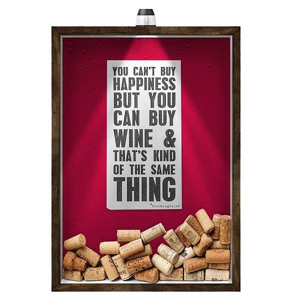 Quadro Caixa 33x43 cm Porta Rolha de Vinho (Com Led) Nerderia e Lojaria led vinho happiness madeira