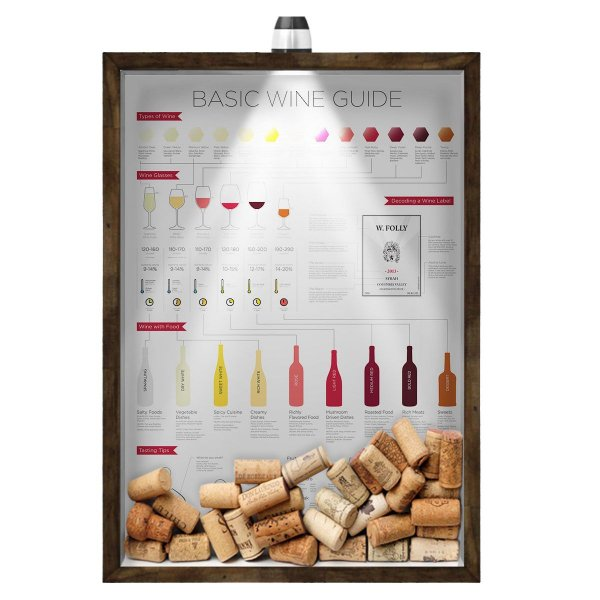 Quadro Caixa 33x43 cm Porta Rolha de Vinho (Com Led) Nerderia e Lojaria led vinho wine guide madeira