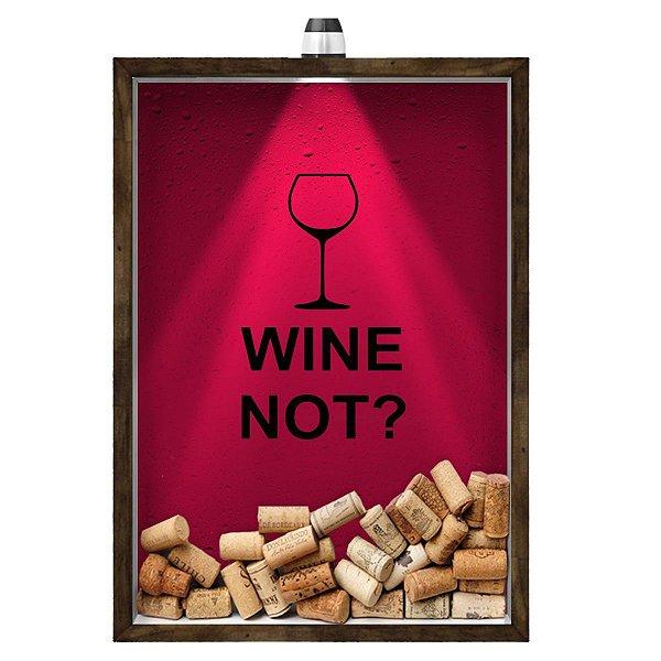 Quadro Caixa 33x43 cm Porta Rolha de Vinho (Com Led) Nerderia e Lojaria led wine not madeira