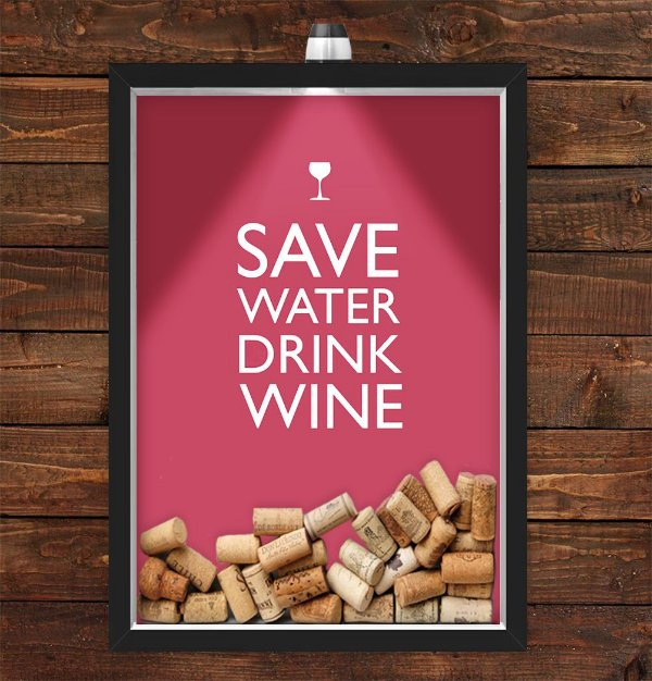 Quadro Caixa Porta Rolha de Vinho 33x43 cm (Com Led) Lojaria e Nerderia. drink wine preto