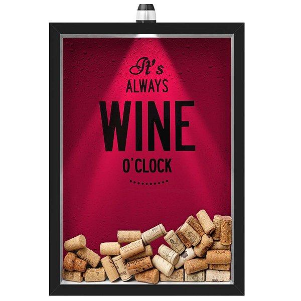 Quadro Caixa Porta Rolha de Vinho 33x43 cm (Com Led) Lojaria e Nerderia. led vinho wine o clock preto
