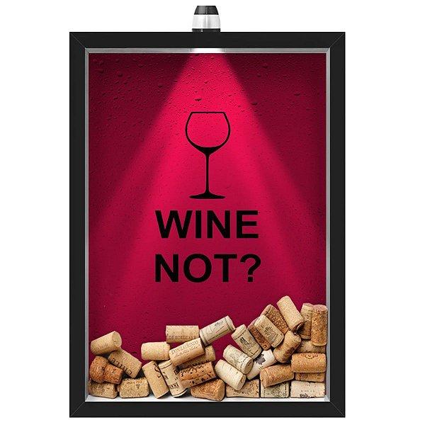 Quadro Caixa Porta Rolha de Vinho 33x43 cm (Com Led) Lojaria e Nerderia. led wine not preto