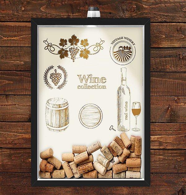 Quadro Caixa Porta Rolha de Vinho 33x43 cm (Com Led) Lojaria e Nerderia. wine collection preto
