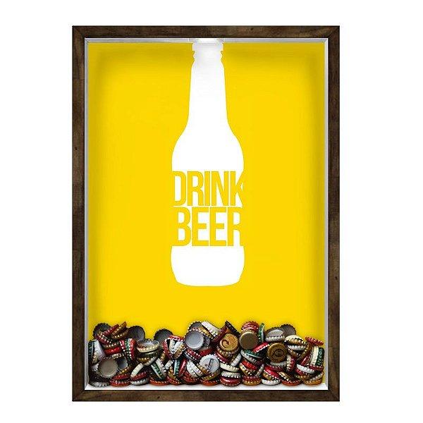 QUADRO 33X43  PORTA TAMPINHA CERVEJA Nerderia e Lojaria cerveja drink beer madeira