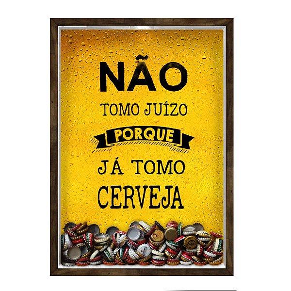 QUADRO 33X43  PORTA TAMPINHA CERVEJA Nerderia e Lojaria cerveja juizo madeira