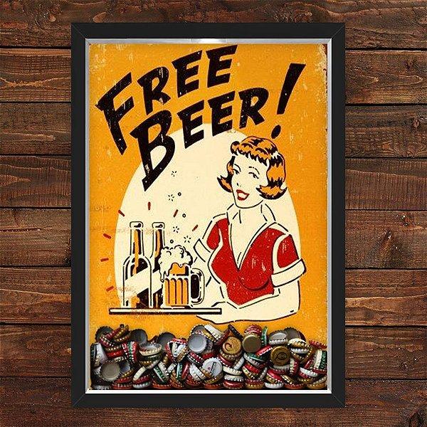 QUADRO CAIXA 33X43  PORTA TAMPINHA CERVEJA NERDERIA E LOJARIA free beer preto