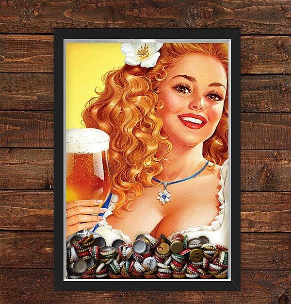 QUADRO CAIXA 33X43  PORTA TAMPINHA CERVEJA NERDERIA E LOJARIA pin up girl beer preto