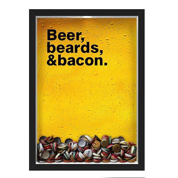 QUADRO CAIXA 33X43 cm  PORTA TAMPINHA CERVEJA NERDERIA E LOJARIA cerveja beer beards and bacon preto