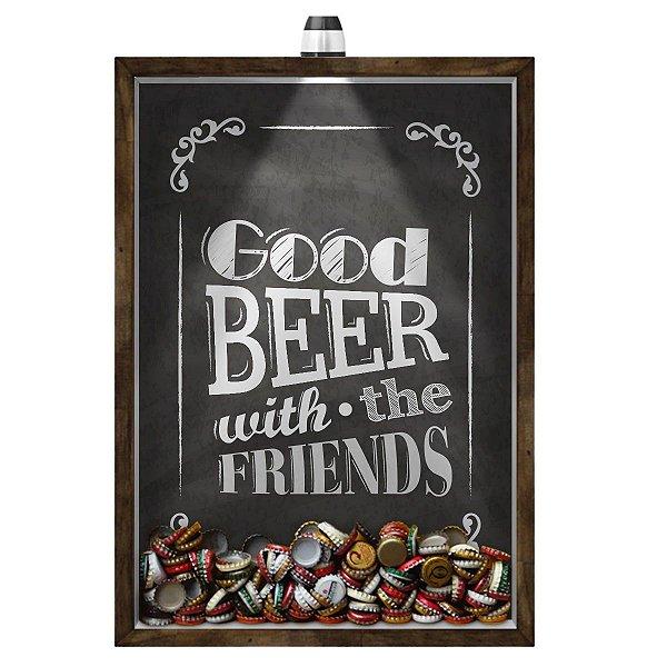 Quadro Caixa 33x43 cm Porta Tampinha Cerveja (Com Led) Nerderia e Lojaria led cerveja good beer black madeira
