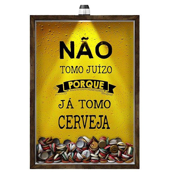 Quadro Caixa 33x43 cm Porta Tampinha Cerveja (Com Led) Nerderia e Lojaria led cerveja juizo madeira