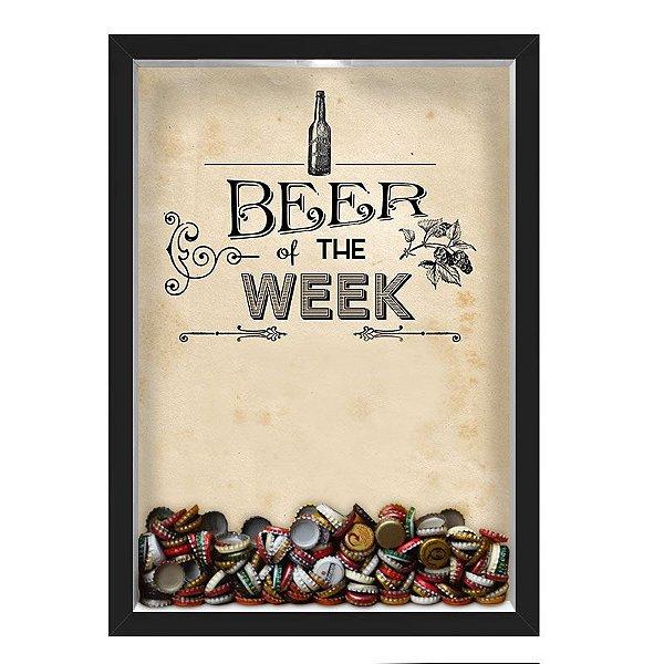 QUADRO CAIXA 33X43 cm PORTA TAMPINHA CERVEJA NERDERIA E LOJARIA cerveja beer of the week preto