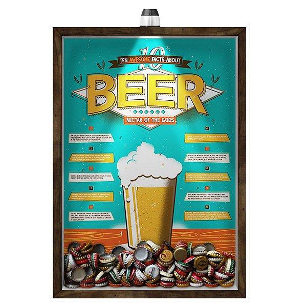Quadro Caixa 33x43 cm Porta Tampinha Cerveja (Com Led) Nerderia e Lojaria led cerveja 10 beer facts madeira