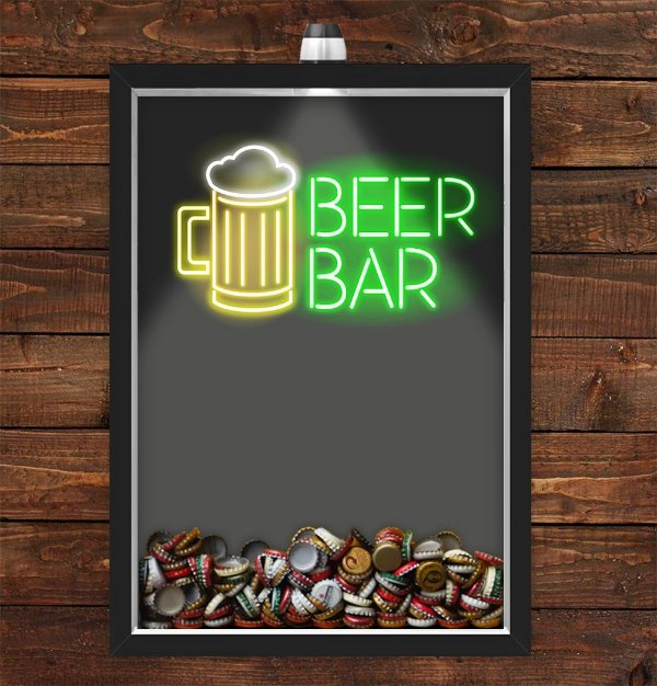 Quadro Caixa Porta Tampinha Cerveja 33x43 cm (Com Led) Lojaria e Nerderia. beer bar preto