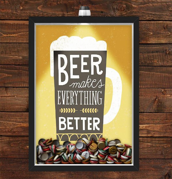 Quadro Caixa Porta Tampinha Cerveja 33x43 cm (Com Led) Lojaria e Nerderia. beer makes everything better preto