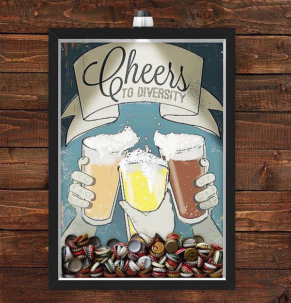 Quadro Caixa Porta Tampinha Cerveja 33x43 cm (Com Led) Lojaria e Nerderia. cheers to diversity preto