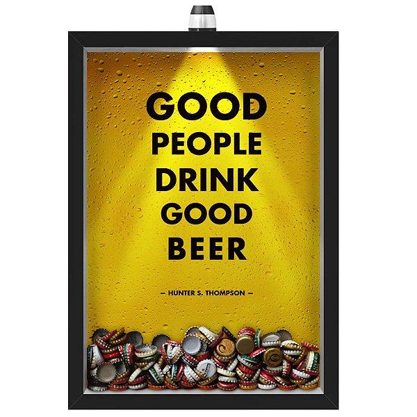 Quadro Caixa Porta Tampinha Cerveja 33x43 cm (Com Led) Lojaria e Nerderia. led cerveja good people good beer preto