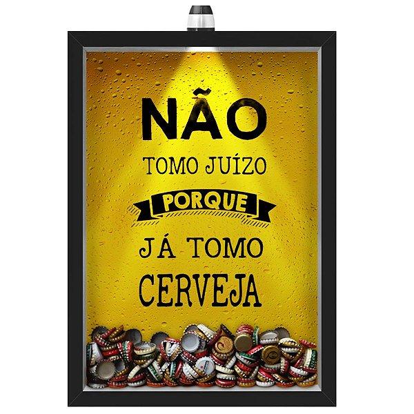 Quadro Caixa Porta Tampinha Cerveja 33x43 cm (Com Led) Lojaria e Nerderia. led cerveja juizo preto