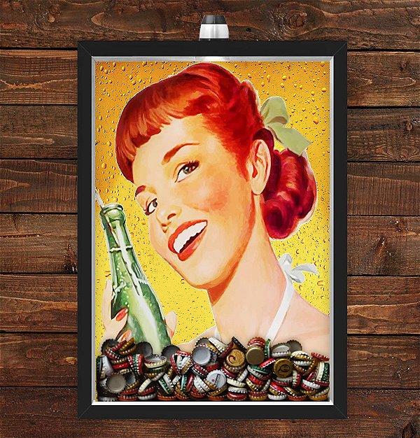 Quadro Caixa Porta Tampinha Cerveja 33x43 cm (Com Led) Lojaria e Nerderia. pin up girl bebida preto