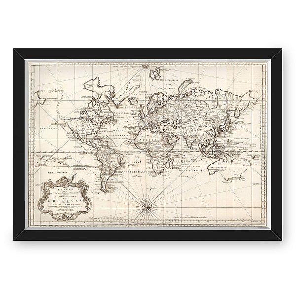 Quadro CAIXA mapa 33x43 cm NERDERIA E LOJARIA viagens antigo linhas preto