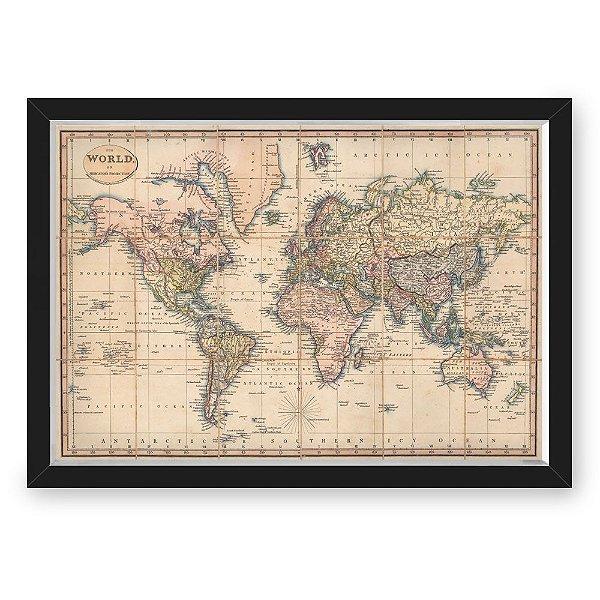 Quadro CAIXA mapa 33x43 cm NERDERIA E LOJARIA viagens mapa antigo preto