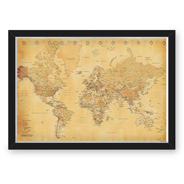 Quadro CAIXA MAPA 33x43 cm NERDERIA E LOJARIA viagens mapa envelhecido preto