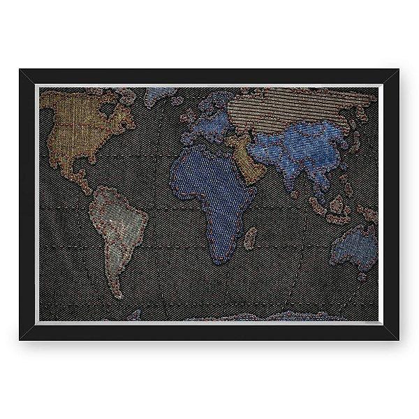 QUADRO MAPA 33X43  NERDERIA E LOJARIA mapa costura preto