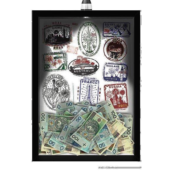 Quadro Caixa  COFRE 33x43 cm (Com Led) Lojaria e Nerderia. viagens selos preto
