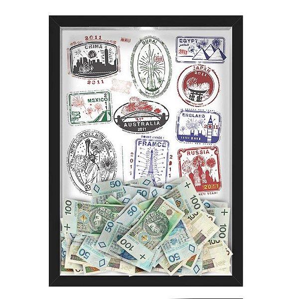 Quadro CAIXA COFRE 33x43 cm NERDERIA E LOJARIA viagens selos preto