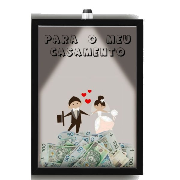 Quadro Caixa Cofre 33x43 cm Para o seu Casamento (Com Led)Nerderia e Lojaria noivo e noiva preto