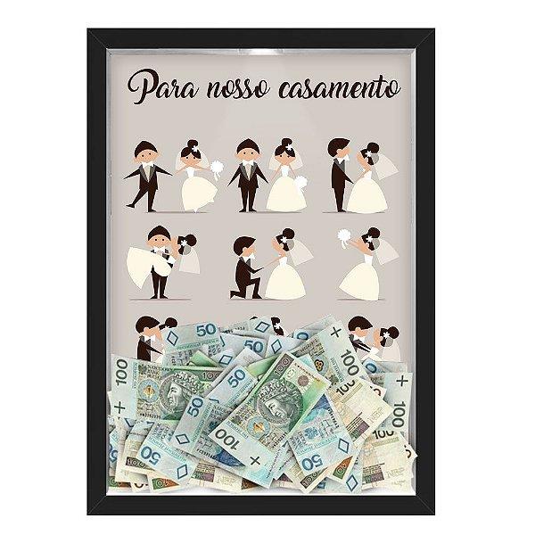 Quadro CAIXA COFRE 33x43 cm PARA O SEU CASAMENTO NERDERIA E LOJARIA casamento casais preto