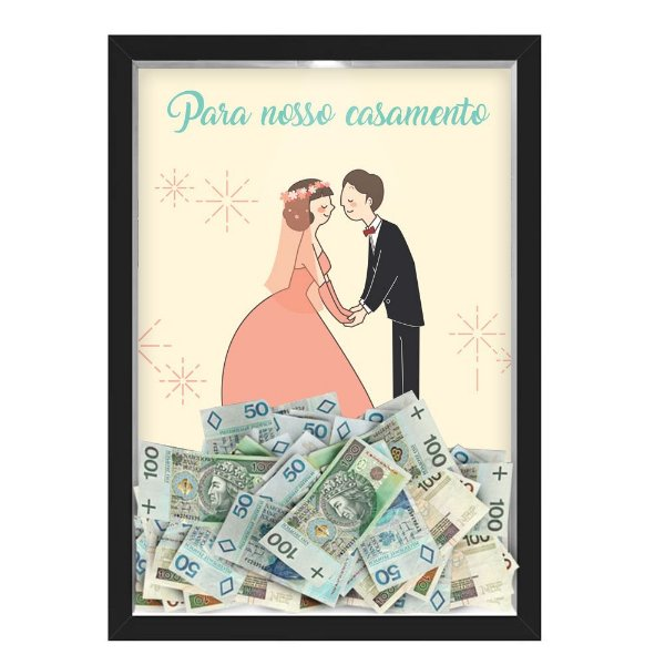 Quadro CAIXA COFRE 33x43 cm PARA O SEU CASAMENTO NERDERIA E LOJARIA casamento casal fofo preto