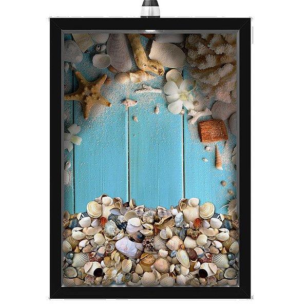 Quadro Caixa Porta Conchas 33x43 cm (Com Led) Lojaria e Nerderia. conchas azul preto