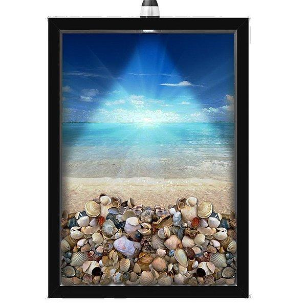 Quadro Caixa Porta Conchas 33x43 cm (Com Led) Lojaria e Nerderia. conchas praia sol preto