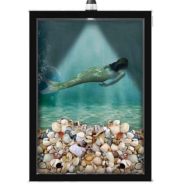 Quadro Caixa Porta Conchas 33x43 cm (Com Led) Lojaria e Nerderia. conchas sereia preto