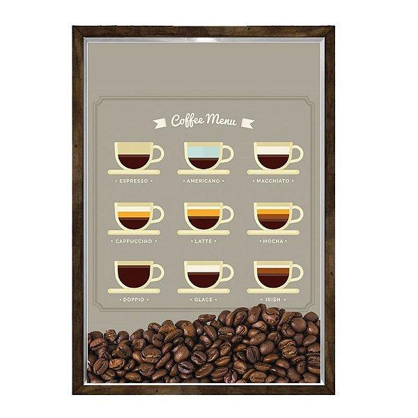 Quadro Decorativo Caixa Porta Grãos de Café 23x33cm Nerderia e Lojaria graos cafe menu madeira