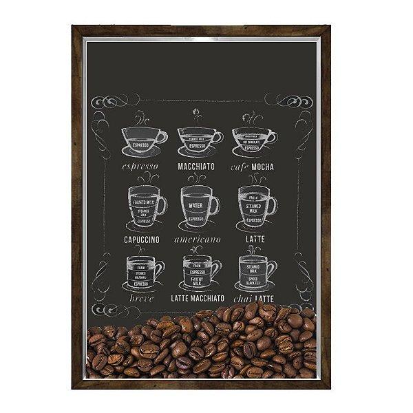 Quadro Decorativo Caixa Porta Grãos de Café 23x33cm Nerderia e Lojaria graos cafe lousa madeira