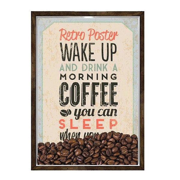Quadro Caixa 23x33 Nerderia e Lojaria graos cafe wakeup preto