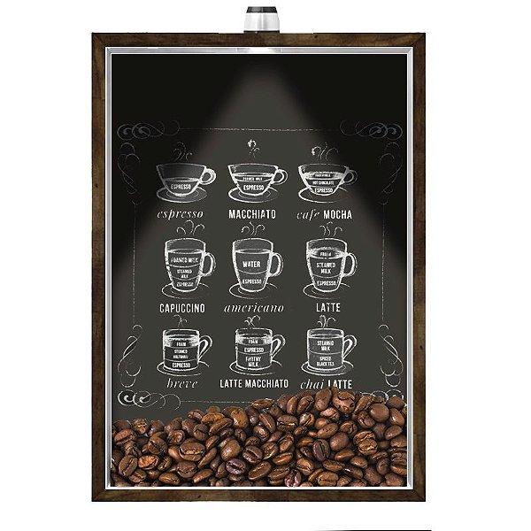 Quadro Caixa Porta GRÃOS DE CAFÉ  (Com Led) 23x33 cm Nerderia e Lojaria graos cafe lousa preto