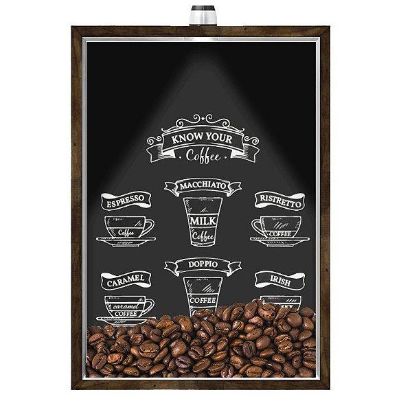 Quadro Caixa Porta GRÃOS DE CAFÉ  (Com Led) 23x33 cm Nerderia e Lojaria graos cafe know your preto