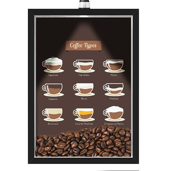 Quadro Caixa 33x43 cm Porta Grãos de Café (Com Led) Nerderia e Lojariagraos cafe tipos preto