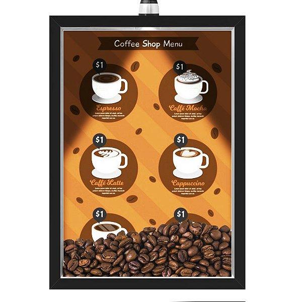 Quadro Caixa 33x43 cm Porta Grãos de Café (Com Led) Nerderia e Lojariagraos cafe shop menu preto