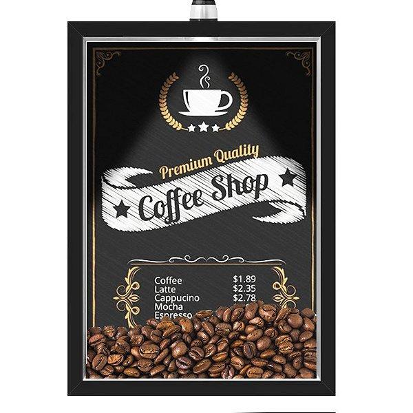 Quadro Caixa 33x43 cm Porta Grãos de Café (Com Led) Nerderia e Lojariagraos cafe shop preto