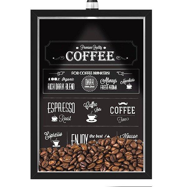 Quadro Caixa 33x43 cm Porta Grãos de Café (Com Led) Nerderia e Lojariagraos cafe premium quality preto