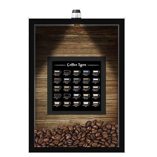 QUADRO DUPLO CAIXA 33X43  (COM LED )PORTA GRÃOS DE CAFE Nerderia e Lojaria  graos tipo cafe preto