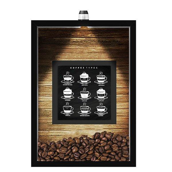 QUADRO DUPLO CAIXA 33X43  (COM LED )PORTA GRÃOS DE CAFE Nerderia e Lojaria  graos cafe types preto